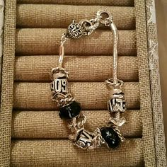 Fashion bracelet Exellent quality,  the black beads are cristal,  you can fill it up with more beads Jewelry Bracelets