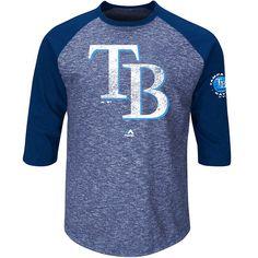 Tampa Bay Rays Majestic Big & Tall Ready to Go Fashion Raglan Three-Quarter Sleeve T-Shirt - Navy - $35.99