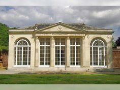 Garden Buildings Orangery at Sledmere House, East Yorkshire This Orangery has a main façade which dates from circa 1790 and is attributed to Sir John Soane. It was originally part of the orangery a…