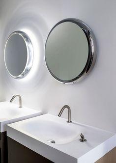 miroirs salle de bain ronds lumineux de design italien par Agape