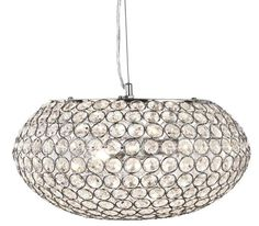 SEARCHLIGHT 7163 3CC 3 LIGHT CHROME OVAL CEILING WITH CLEAR CRYSTAL BUTTONS