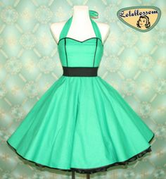 50's vintage dress full skirt green black baby dots dress rare Tailor Made after your measurements