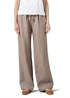 Vivid Linen Long Straight Pull-On Pants-2X-Almond Brown *** Check this awesome product by going to the link at the image.
