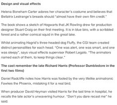 trivia part 4: a new book, Harry Potter: Page to Screen, tells the story of the how the cult novels were turned into eight blockbuster movies. Here are some favorite facts from the book