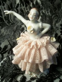 Antique Dresden Figurine, Ballet Dancer, German Porcelain, Pink Lace Dress