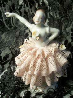 Antique Dresden Figurine, Ballet Dancer, German Porcelain, Pink Lace Dress