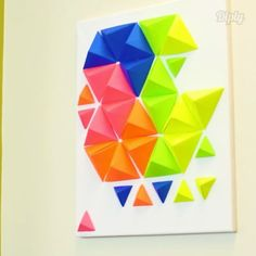 Check out this fun DIY wall art! ✅ Double tap and follow me for more awesome DIY videos! Credit : @diplycrafty Fun Diy, Clever Diy, Diy Wall Art, Diy Videos, Double Tap, Awesome, Tips, Instagram Posts, Check