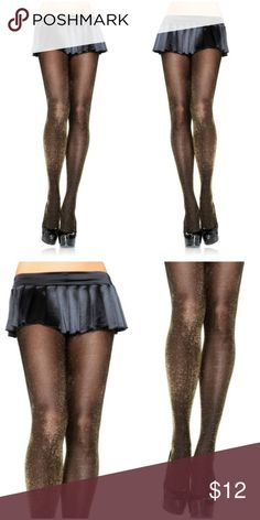 ⚡Tights Stockings Hosiery Black and Metallic Gold Tights Stockings Hosiery Black and Metallic Gold 7120 Private Label Accessories Hosiery & Socks