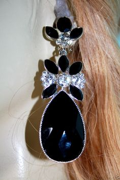 Hoop earrings rhinestone bridal austrian crystal pageant prom drag jet black austrian crystal chandelier clip earring rhinestone drag pageant 35 aloadofball Gallery