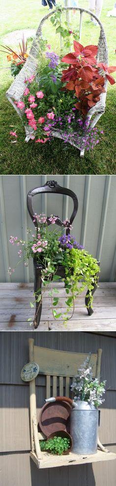 DIY Transform Old Chairs Into Beautiful Mini Gardens