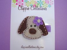 Sweetie Pup clippie - Brown and orchid purple felt puppy hair clip - no slip. $3.95, via Etsy.