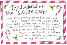 The Legend of the Candy Cane free printable (Totally have to share this with my cousin Debbie, who gives candy to her church group!)