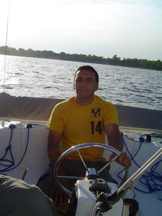 "Ramon says, ""I've driven cars and trucks, but this is the first time piloting a sailboat."""