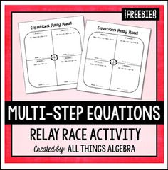 """FREE MATH LESSON - """"Multi-Step Equations Relay Race Activity"""" - Go to The Best of Teacher Entrepreneurs for this and hundreds of free lessons. 7th - 11th Grade  #FreeLesson  #Math  http://www.thebestofteacherentrepreneurs.com/2016/02/free-math-lesson-multi-step-equations.html"""