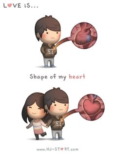 I personally think human heart's shape is too gross and not right, to represent our aweome beautiful love :) Subscribe to HJS @ http://tapastic.com/series/393 and see more!