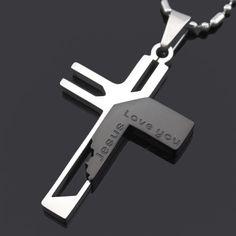 Kostenloser Versand Weihnachten Kreuz Mann Frau Jesus Stück Mode Anhänger Halskette 316L Edelstahl Hohe Qualität Für Liebe BP701