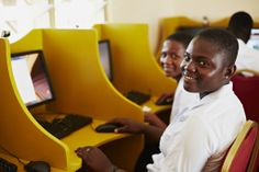 In the spirit of #GirlsinICT Day, a photo of students at the Camfed Walewala ICT Center in Ghana