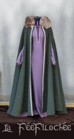 Geïnspireerd door Lagertha Viking kostuum: jurk  Kaap wol