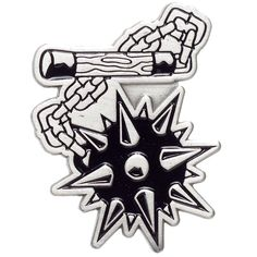 KUSTOM KREEPS FLAIL ENAMEL PIN - Strike first! - with the Flail Pin by Kustom Kreeps. This enamel pin features a downright medieval flail-mace in silver & black, guaranteed to look positively killer on your favorite jacket, vest or bag! Flash Art Tattoos, Medieval Tattoo, Dark Art Drawings, Tattoo Drawings, Traditional Tattoo Sketches, Easy Tattoos To Draw, Heaven Tattoos, Traditional Flash, Tatuagem Old School