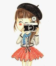 """Cuando uno """"enfoca"""" en el amor todo lo demás es una consecuencia natural. Ilustración """"girl with camera"""" by Guerrilla Nerd ♥ Butterfly Blue ♥: Foco cierto"""