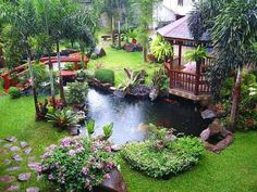 Outdoor , Get Calm And Refreshing Outdoor Look Through Awesome Backyard  Water Features : Luxury Backyard With Large Fish Pond Gazebo And Small  Bridge Idea