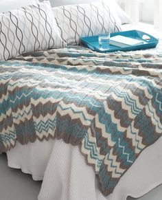 Free Knitting Pattern for Chevron Panels Afghan - This easy pattern is worked in chevron lace panels and then seamed. Available in English and French. Approx 54 x 62″ [137 x 157.5 cm].