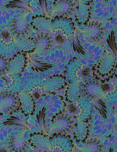 Timeless Treasures Palazzo by chong-a Hwang Peacock Abstract End Paper Metallic Pattern Paper, Pattern Art, Fabric Patterns, Pattern Design, Colour Pattern, Surface Pattern, Peacock Fabric, Peacock Pattern, Peacock Art