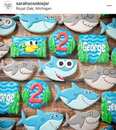 Source by thedoughmesticcookie Shark Birthday Cakes, Baby Boy Birthday, Boy Birthday Parties, 2nd Birthday, Shark Cookies, Second Birthday Ideas, Shark Party, Baby Shark, First Birthdays