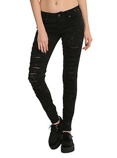 Royal Bones Black Bleach Fishnet Skinny Jeans,