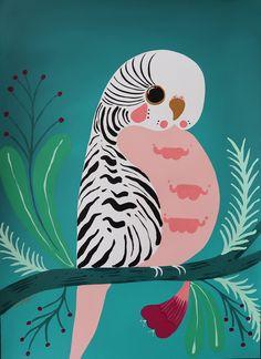 """Pretty Little Budgie"" by emma whitelaw. Paintings for Sale. Folk Art Flowers, Flower Art, Bird Graphic, Bird Pictures, Budgies, Parakeet, Australian Artists, Animal Paintings, Bird Art"