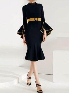 e188068c9fb  EnvyWe  TBDress -  TBDress Patchwork Stand Collar Nine Points Sleeve  Womens Sheath Dress