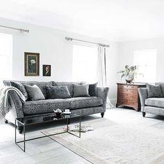Farley Grand Fixed Spilt Fabric Sofa, Garbo Damask Steel | Sofas | Living Room