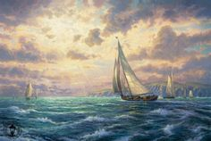 Thomas Kinkade New Horizons painting for sale, this painting is available as handmade reproduction. Shop for Thomas Kinkade New Horizons painting and frame at a discount of off. Thomas Kinkade Art, Thomas Kinkade Christmas, Kinkade Paintings, Thomas Kincaid, Hanging Paintings, Oil Paintings, Painting Art, Art Thomas, American Artists