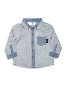 Kardashian Kids Baby Boys Contrast Chambray Textured Shirt  Blue 18 Mo