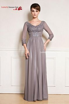 Aliexpress.com : Buy 2015 Long Chiffon Plus Size Mother of the Bride Dresses with Sleeves Elegant A Line V Neck Beading Evening Dresses with Crystal from Reliable dress care suppliers on Luxury Dresses Club | Alibaba Group