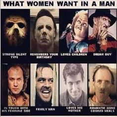 :D from the story Horror Movie Boyfriend Scenarios (CLOSED! pinhead, humor, n. Freddy Krueger, Chucky, Scary Movies, Horror Movies, Horror Villains, Slasher Movies, Doug Funnie, Norman Bates, Funny Horror