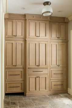 We designed this gorgeous pantry wall for maximum storage including, two beverage drawers, lots of roll outs and ample shelving and drawers. #hiddenstorage #organizedkitchen #whiteoakcabinets Modern Craftsman, Modern Farmhouse, Kitchen Gallery, Stained Concrete, Dream Closets, Custom Cabinetry, Hidden Storage, White Oak, Kitchen Organization