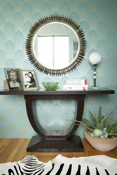 foyer. wallpaper. mirror. console.