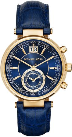 Michael Kors 39mm Sawyer Leather Strap Watch, Navy at Neiman Marcus