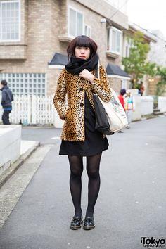 Leopard Print Coat w/ Black Dress & Dr. Martens in Harajuku (Tokyo Fashion, 2015)