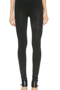 Coated jersey David Lerner leggings with a sexy, second-skin fit. Covered elastic waistband. Fabric: Coated jersey. 86% nylon/14% spandex. Wash cold. Made in the USA. MEASUREMENTS Rise: 8in / 20cm Inseam: 28in / 71cm Leg opening: 8in / 18cm