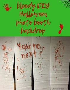 bloody DIY Halloween photo booth backdrop for your next Halloween party - mina Halloween Fotos, Bloody Halloween, Halloween Diy, Halloween Birthday, Happy Halloween, Halloween Costumes, Outdoor Halloween Parties, Halloween Party Themes, Diy Halloween Decorations