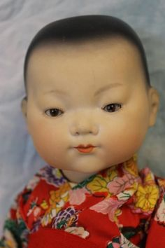 """c.1920 Antique 12"""" Armand Marseille """"Ellar"""" Asian Baby Solid Dome, Tinted Bisque"""