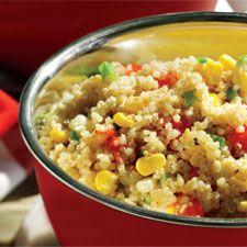 Salade de quinoa aux tomates et au maïs  -- ajouter chorizo & zeste de citron