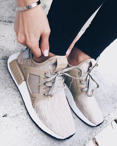 Adidas NMD rx1 linen sneakers nude.