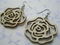 Petit Rose Wooden Earrings Natural by LittleCharm on Etsy, $2.00