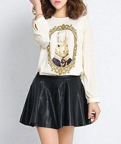 Simlpe Style Round Collar Long Sleeve Rabbit Pattern Women's T-shirt