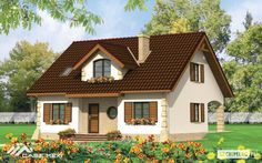 CASE cu MANSARDĂ - Casa cu mansarda Salomea Village House Design, Bungalow House Design, Village Houses, Modern House Design, Round House Plans, New House Plans, Tiny Guest House, Small Country Homes, Model House Plan