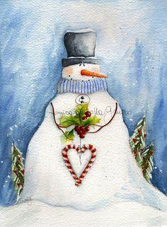 Adorable Christmas Art Print. Watercolor Painting. by thewhitebenchart