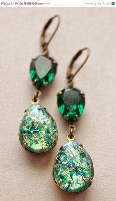 SALE Vintage Emerald Opal Earrings,Emerald Green Fire Opal,RARE,Swarovski Earrings,Opal Earrings,Opal Jewelry,Hourglass,Rhinestone by hangingbyathread1 on Etsy https://www.etsy.com/listing/173130282/sale-vintage-emerald-opal